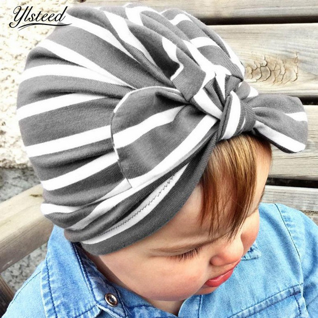 bb2139b09de Autumn Baby Stripe Turban Hat with Bowknot Turbans for Tots Infant Toddler  Topknot Winter Beanie Baby