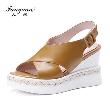 fanyuan New Sandals Women Summer Ankle Strap Genuine Leather Shoes Woman Wedges High Heeled Shoes Roman Sandals Women