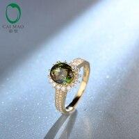 Овал зеленый турмалин Настоящее 14 К желтого золота проложить Набор Diamond Обручение кольцо Потрясающие для леди Бесплатная доставка