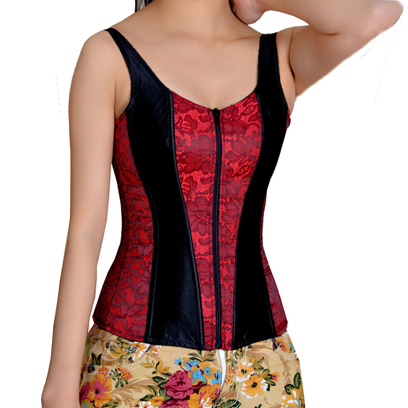 Black And Red Floral Pattern Gothic Corselet Overbust Espartilhos E Corpetes Waist Trainer Corsets Zipper Bustier Corset Top