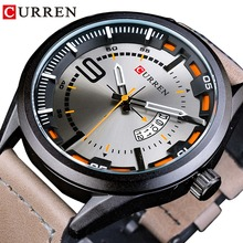 CURREN Outdoor Military Design Calendar Display Brown Genuine Leather Belt 3D Fashion Dial Men Waterproof Quartz Watch Top Brand