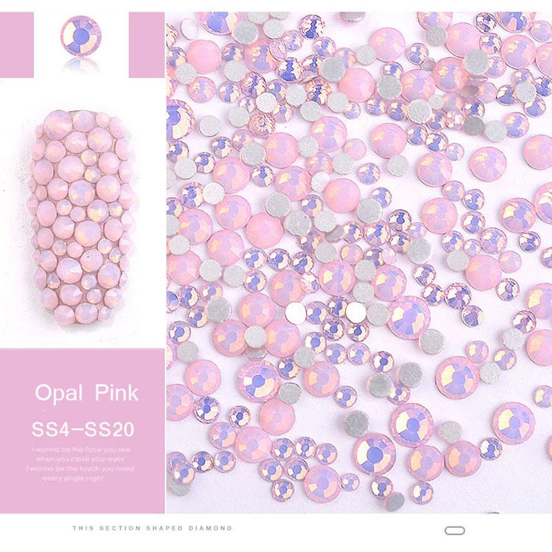 350 Pcs SS4 SS20 Mix Size Pink Opal Crystal Nail Rhinestones Flatback Non Hotfix Glass Gems 3D Charm Strass Nail Art Decorations in Rhinestones Decorations from Beauty Health