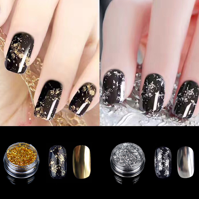 WUF Gold Silver Optional Flakes Nail Sequins 0.2g Bling