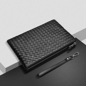 цены 100% Sheepskin Genuine Leather Men Purses And Handbags Handmade Knitting Clutch Soft Leather Large Capacity Men Shoulder Bags