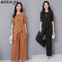 3 Piece Set Women Clothes Plus Size Chiffon Women's Summer Suit Long Cardigan Coat and Wide Leg Pants Sets with Sleeveless Tops