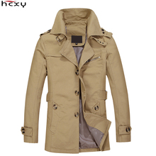 HCXY Brand 2016 Male Overcoat Long Jacket Coat Men Mens Trench Coat Trenchcoat Masculina Windbreaker Outwear Cotton Fabric cheap Full Standard Polyester Casual Broadcloth Single Breasted Regular aw62903 Solid None Slim Pockets Turn-down Collar Conventional