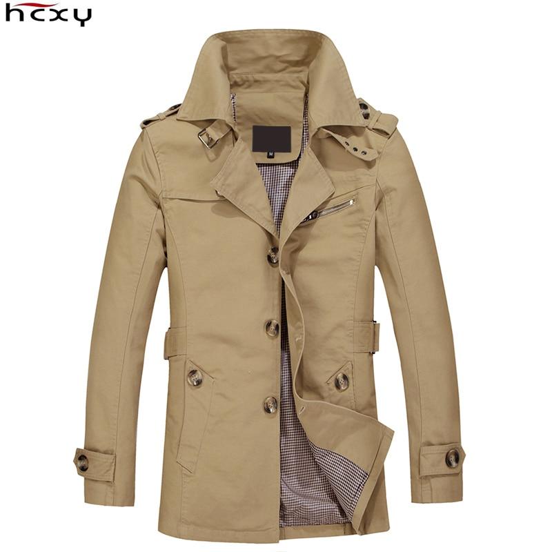 Marca HCXY 2016 abrigo de hombre Chaqueta larga abrigo de hombre gabardina de hombre abrigo de abrigo chaqueta Masculina rompevientos Outwear tela de algodón