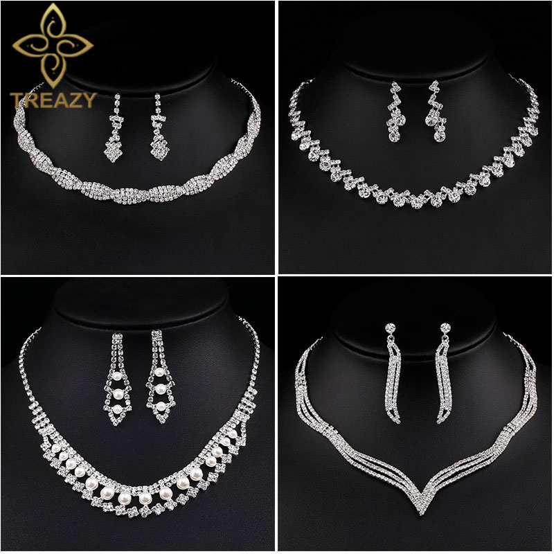 TREAZY Wedding-Jewelry-Sets Necklace Earrings Crystal Rhinestone Women for New-Designed