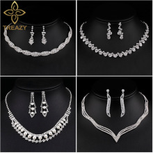TREAZY New Designed Wedding Jewelry Sets for Women Rhinestone Crystal Necklace Earrings Bridal Jewelry Sets Wedding Accessories multicolor crystal rhinestone peacock shape necklace earrings set for women wedding dubai bridal jewelry sets