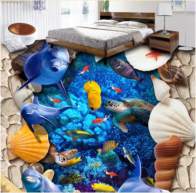 3d wallpapers The underwater world 3d floor murals photo wall mural 3d floor tiles self adhesive bedroom wallpaper flooring