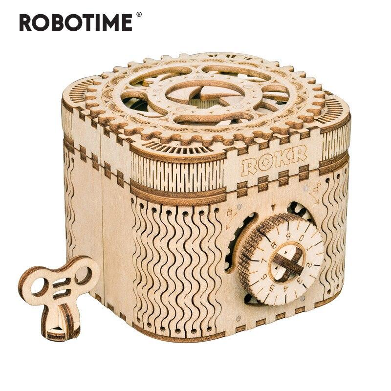 Robotime 123 pièces Creative bricolage 3D boîte au trésor en bois Puzzle jeu assemblage jouet cadeau pour enfants adolescents adultes LK502