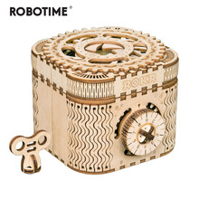 Robotime 123pcs Creative DIY 3D Treasure Box Wooden Puzzle Game Assembly Toy Gift for Children Teens Adult LK502(China)
