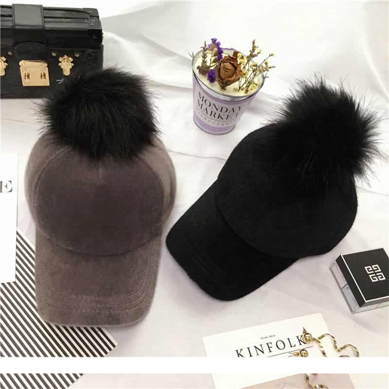 Top quality Unisex Fashion Solid Polyester Hip Hop Cap with Fur Pom Pom Baseball Cap for man women Adjustable Snapback Cap A410 new 2017 hats for women mix color cotton unisex men winter women fashion hip hop knitted warm hat female beanies cap6a03