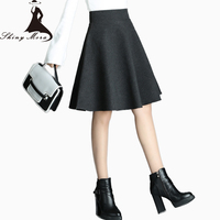 SHINYMORA Winter Wool Warm Thicken A Line Skirts For Women 2017 New Fashion Students Short Skirt
