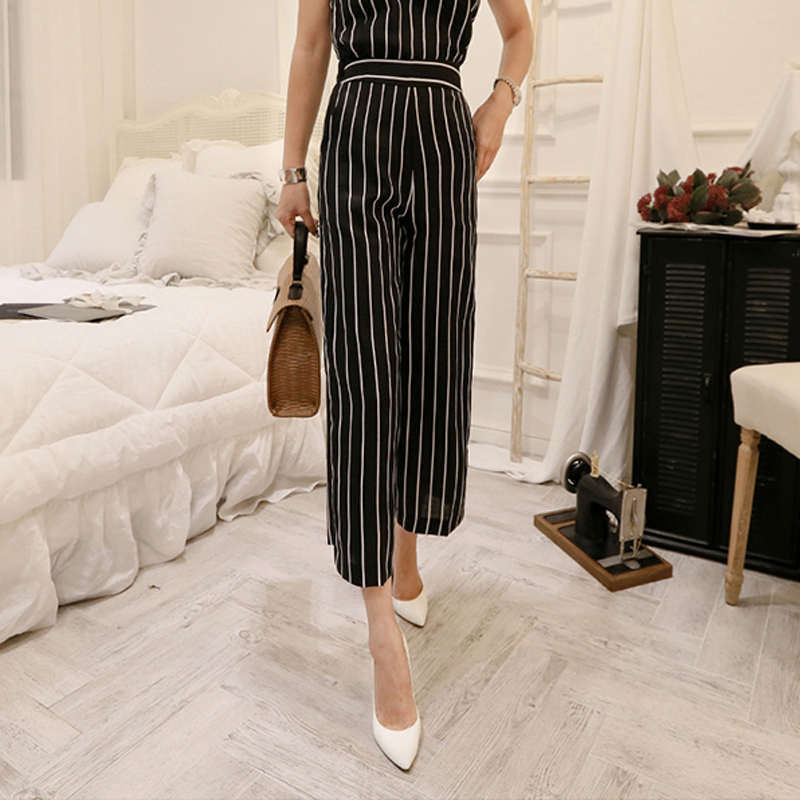 2 Pieces Set Striped OL Suits Sleeveless Sash Tops and High Waisted Wide Leg Pants Fashion Summer Womens Set 2018
