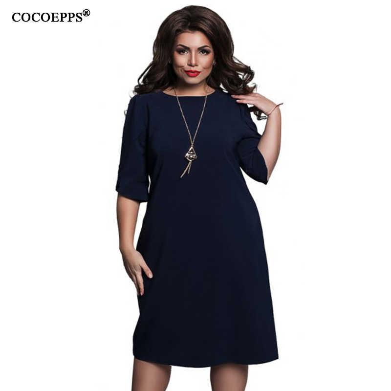 f2987cece COCOEPPS женское Повседневное платье свободные женские платья с круглым  вырезом Большие размеры 2019 Женская одежда с
