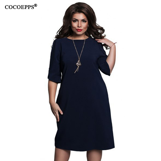 COCOEPPS Модные свободные женские платья больших размеров Новые 2018 Большие размеры женская одежда с коротким рукавом vestidos Повседневное платье с круглым вырезом
