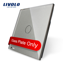 Livolo Luxury Grey Pearl Crystal Glass, 80mm*80mm, EU standard, Single Glass Panel For 1 Gang  Wall Touch Switch,VL-C7-C1-15