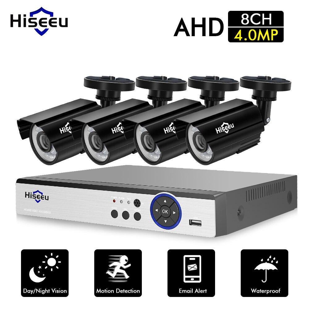 Hiseeu caméra cctv Système de Sécurité Kit 8CH 4MP AHD DVR 4 pièces Extérieure Vidéo Surveillance 3.6mm Lentille