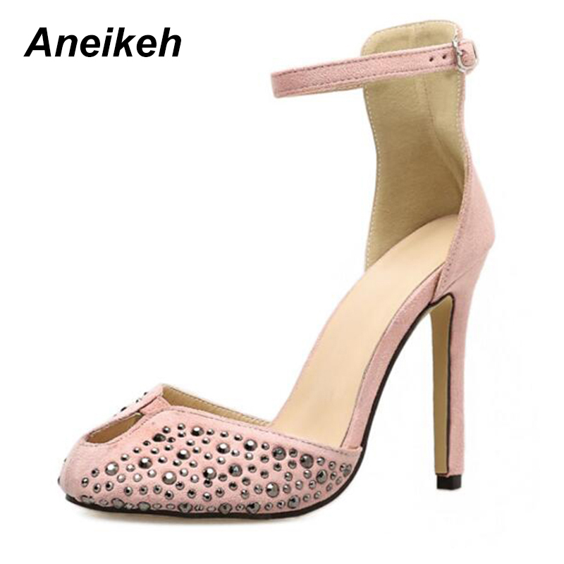 c489d58497 Aneikeh 2018 Suede Shoes Peep-toe High Heel Ankle Strap Rivets Sandal Women  Cut-out Crystal Dress Shoes Pumps Size 35-40 Black