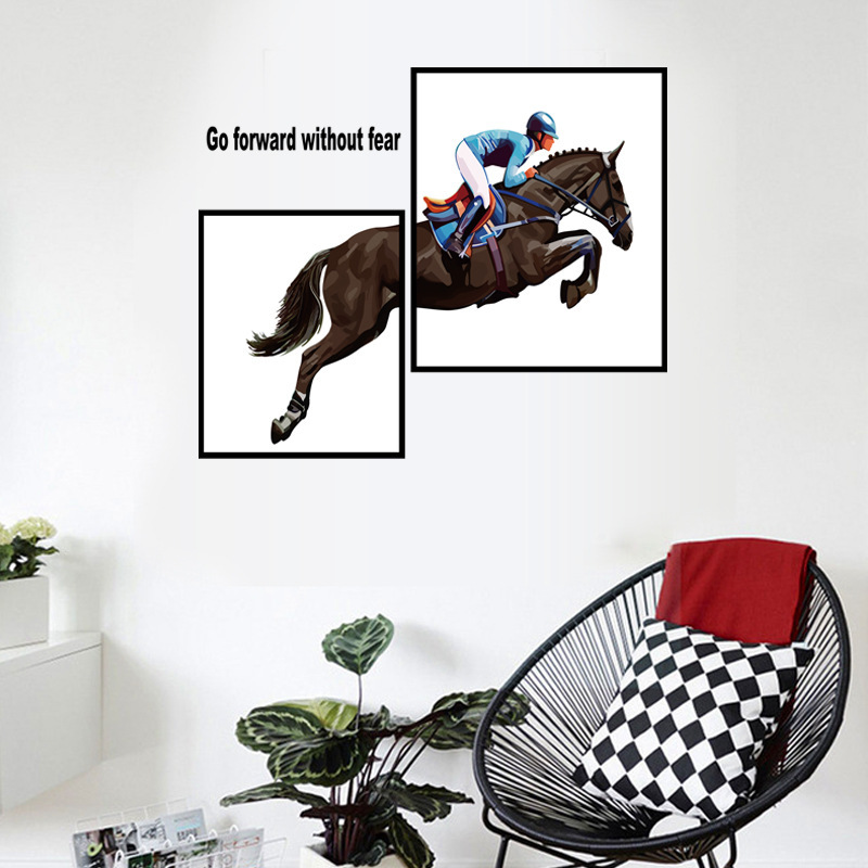 Horse Riding Photo Frame Sticker Mural Entrance Bed Background Art Wall Stickers Home Decor Living Room Wall Sticker