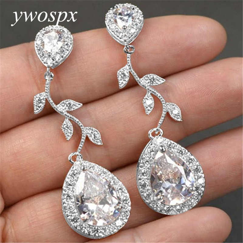 YWOSPX Luxury White Crystal Zircon Rose Gold Silver Color Dangle Leaf Earrings for Women Jewelry Wedding Brincos Earring Gifts