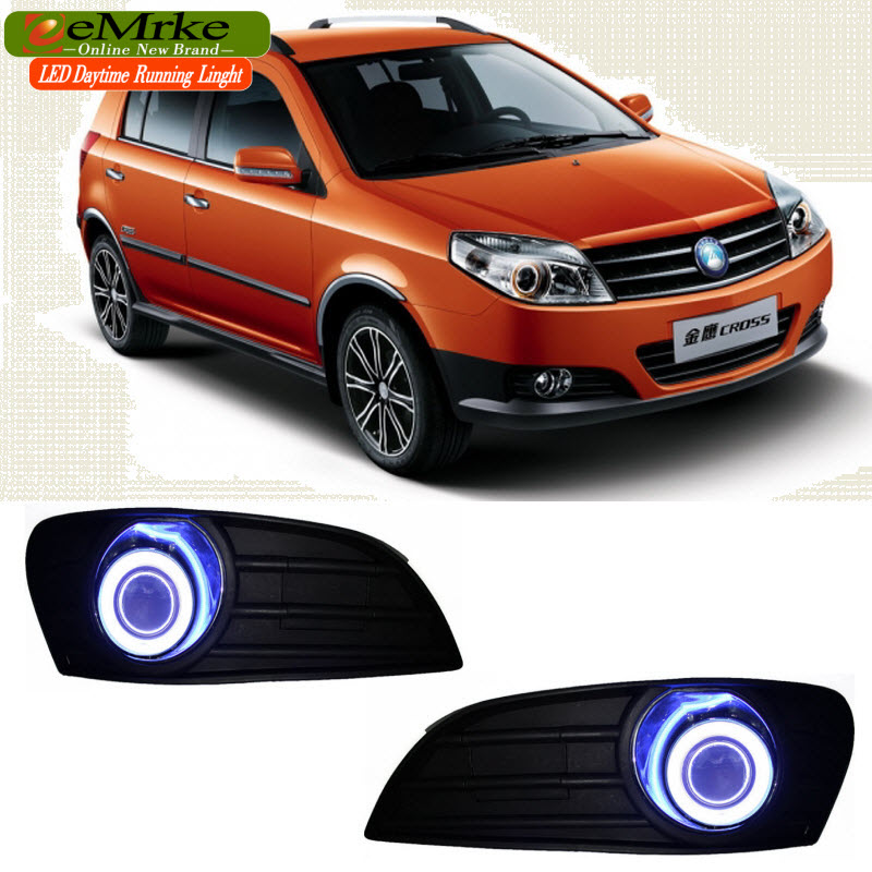 EEMRKE For Geely MK Cross 2in1 COB LED Angel Eye DRL H11 55W Halogen Fog Lights Lamp Daytime Running Light eemrke led daytime running lights for mitsubishi grandis cob angel eye drl halogen h11 55w fog light
