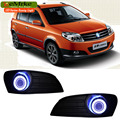 EEMRKE For Geely MK Cross 2in1 COB LED Angel Eye DRL H11 55W Halogen Fog Lights Lamp Daytime Running Light