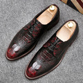 New Arrival Men Brush Color Brogue Shoes Fashion Lace Up Crocodile Pattern Aged British Style Oxford Shoes Tide Of Man 38-44