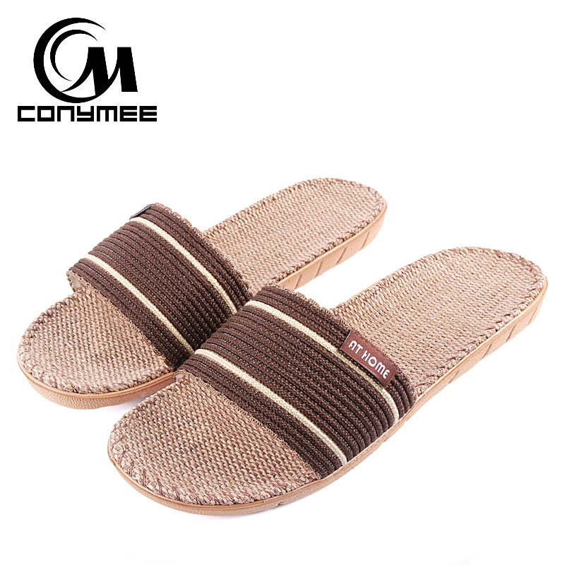 CONYMEE Summer 2018 Sandals Slippers Men Flax Indoor Shoes Casual Sneakers For Home Male Linen Soft Slipper Beach Flip Flops