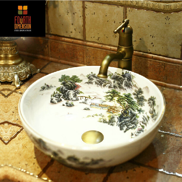 Aliexpress.com : Buy China Ink Painting Style Handpainted Ceramic Lavobo  Round Countertop Bathroom Sink From Reliable Basin Bathroom Suppliers On  The Fourth ...