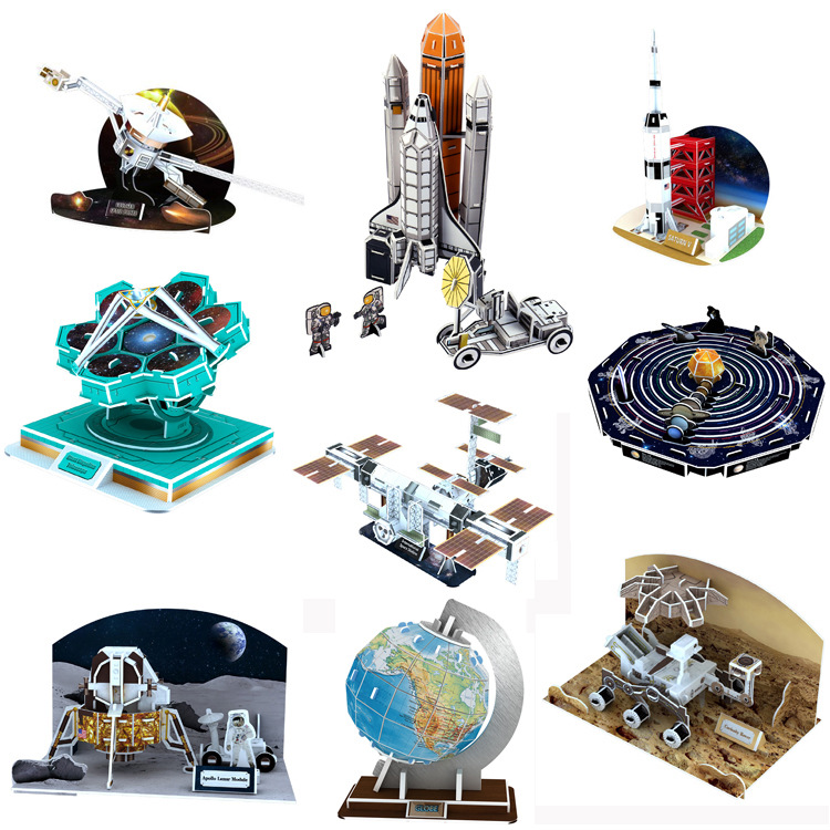 3D Card Board Jigsaw Apollo Moon Rocket Solar System International Space Station Puzzle Construction Brick Model Paper Building