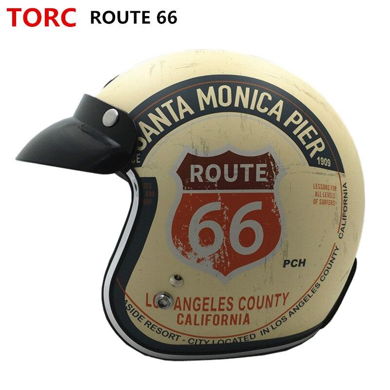 Offre spéciale TORC T50 Vintage moto rcycle casque jet casque visage ouvert rétro 3/4 demi casque casco moto capacete casque moto cross