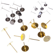 New 100pcs/150pcs/200pcs 4-8mm Flat Pad Post Piercing Ear Stud DIY Earring Paste Beads Holder Jewelry Findings