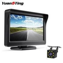 "YuanTing cámara de visión trasera de marcha atrás para automóvil, Kit de visión nocturna con Monitor de coche de 4,3 "", pantalla TFT LCD, sistema de asistencia para aparcamiento DC 12V"