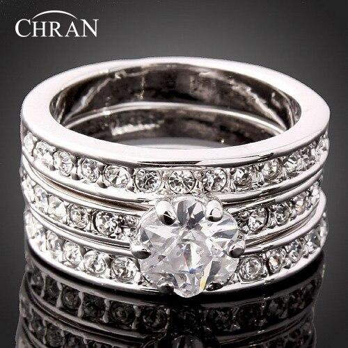 CHRAN Classic Silver Цвет 3 проложить Кристалл Обручение обручальные кольца для Для женщин кубического циркония обещал кольца ювелирные изделия