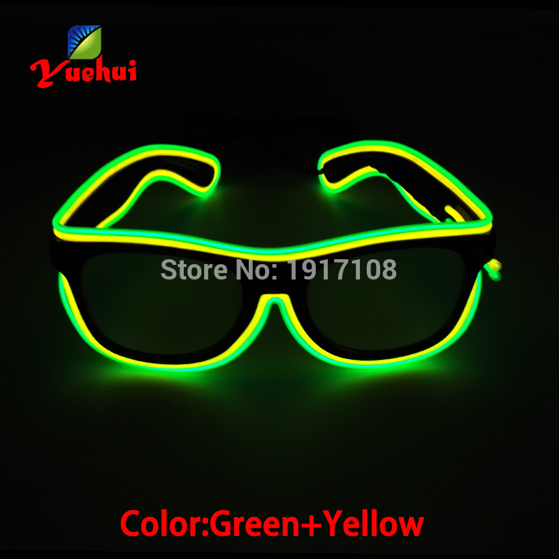 2017 New Design Sound active Twin Color Blinking LED glasses Flexible EL wire SunGlasses Powered by Battery For Party Decoration