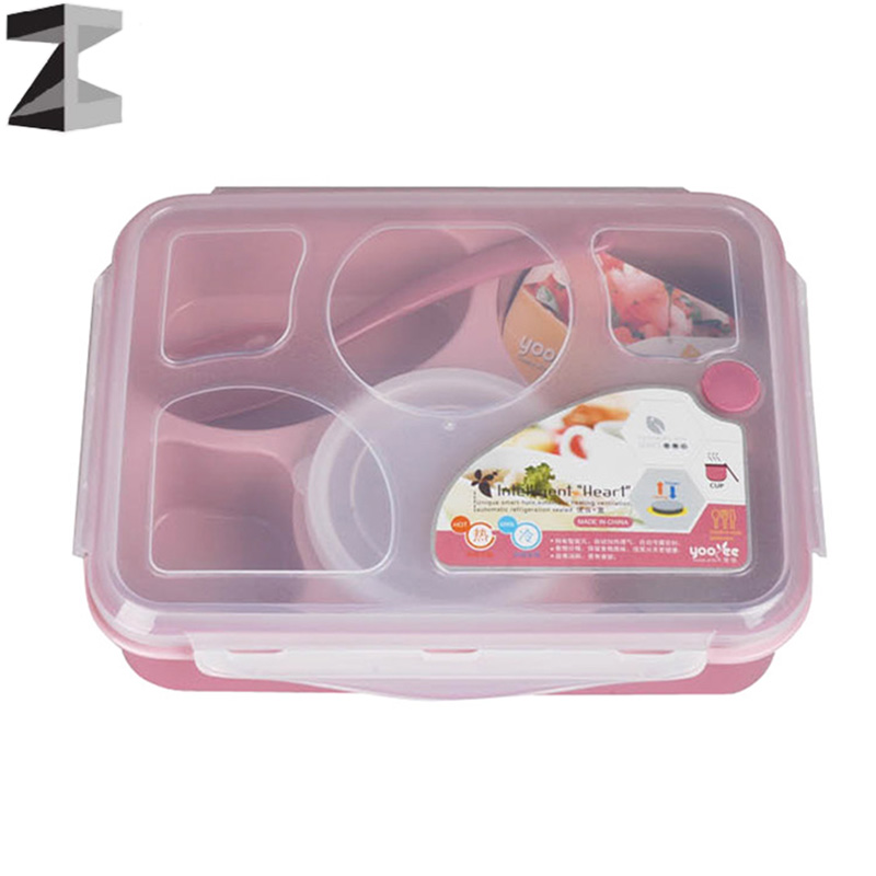 Lunch bento Box With soup bowl spoon Transparent cover Japan style 5 in 1microwave Large Meal Box Tableware Dinnerware Set