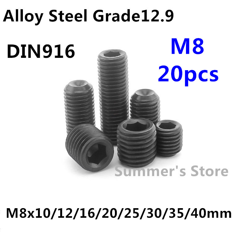 Black Alloy Steel Grade12.9 High Tensile Cup Point Grub Hex Socket Set Screws DIN916 M3 x 10mm 50pcs M3 3mm