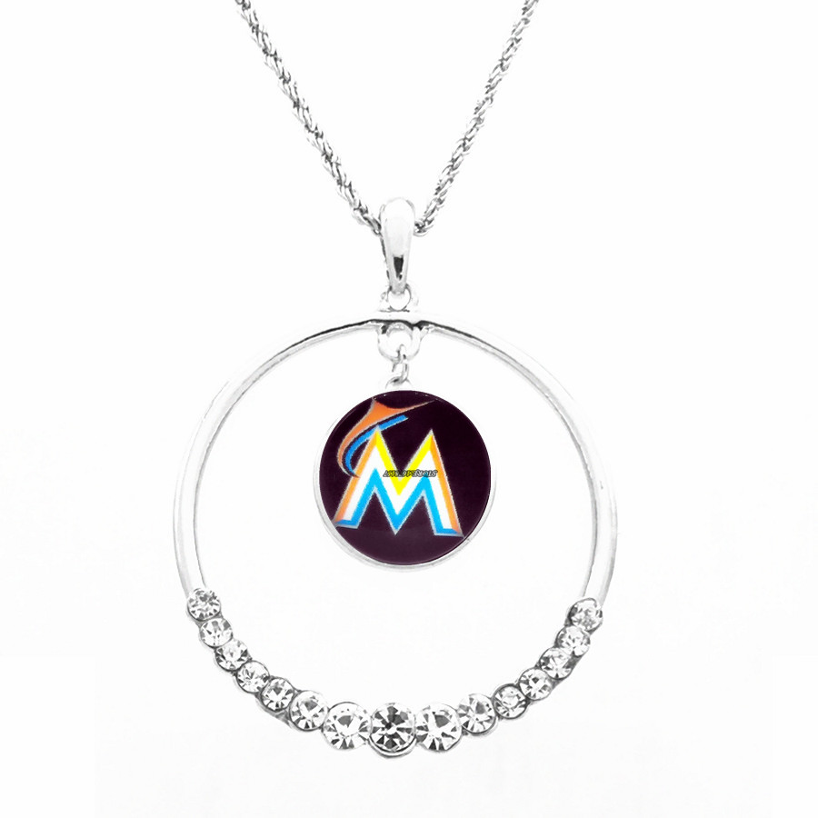 Necklace Women Necklace Pendants with chain all team MLB Florida Marlins Football Fans Gifts round top CZ crystal necklace