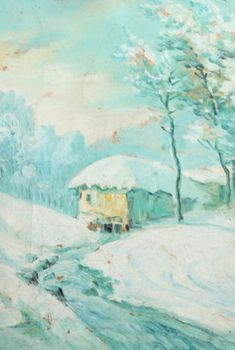 Mouse over image to zoom Details about  WINTER LANDSCAPE VINTAGE GOUACHE PAINTING