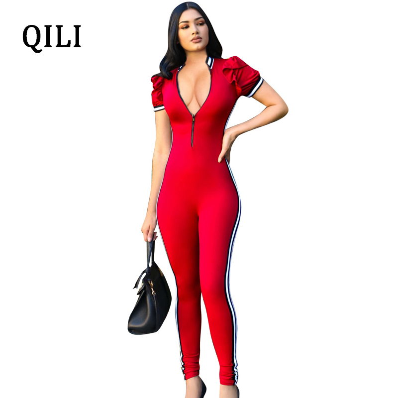 QILI Ruffles Short Sleeve Jumpsuits Romper Front Zipper Side Striped Summer Women Bodysuit Jumpsuit Office Lady Casual Overalls