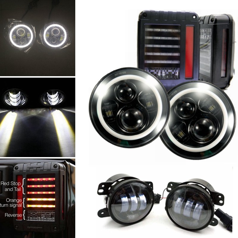 For Jeep Wrangler Black 7 Inch H4 H13 Led Headlight With White halo + 4 Inch Led Fog Light + LED Tail Lights Rear Lamps
