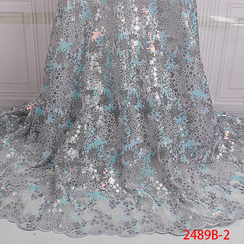 High Quality Sequin Net Fabric African Organza Lace Fabric 2018 Embroidered French Sequence Lace Fabrics For Women KS2489B-2