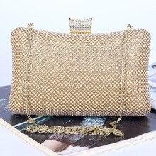 Luxus Hand Maß Frauen Kupplungen Volle Kristalle Frauen Abendtaschen Hochzeit Tasche Mit Lange Kette Gürtel Schwarz Gold Silber wm0169