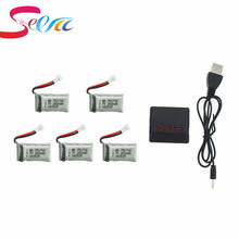 3.7V 260mAh Lipo Battery 5pcs and X5 Charger for Eachine H8 JJRC H8 Mini RC Quadcopter drone part wholesale