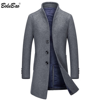 BOLUBAO Autumn Winter Men Wool Blends Coats Men's Solid Color Slim Fit Trench Coat Casual Brand Quality Wool Blends Coat Male