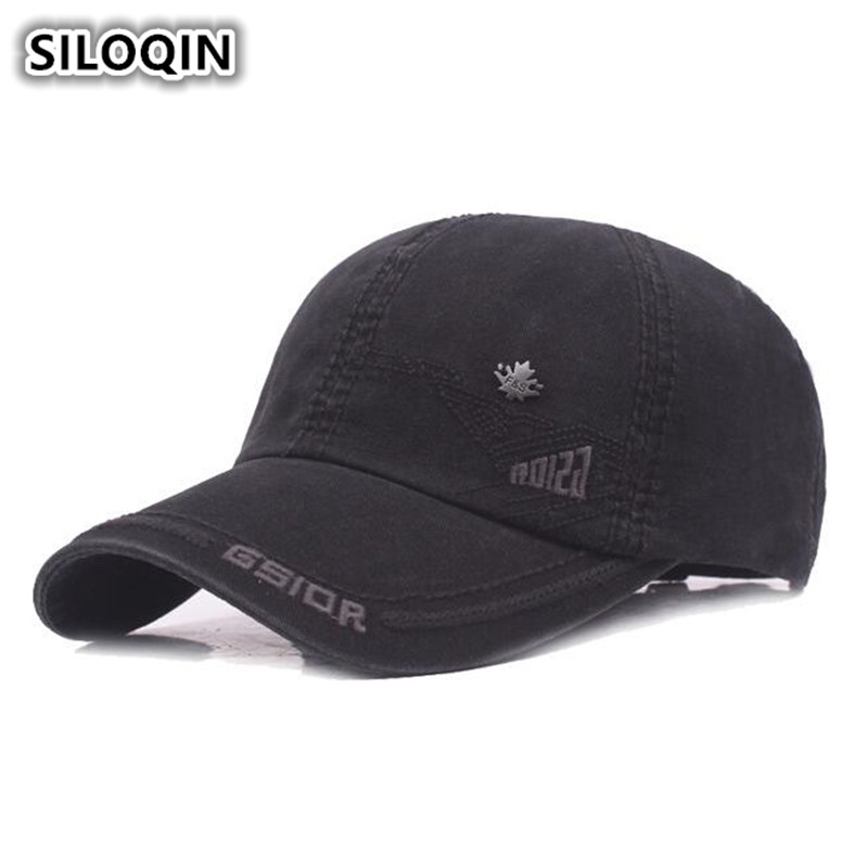 SILOQIN Men's 100% Cotton Material   Baseball     Caps   Adjustable Size Male Bone Snapback Letter Big Eaves Visor   Cap   Brands Dad's Hat