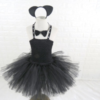 Adorable Girl Black Birthday Party Tutu Dress 1 11year Children Knee Length Halloween Cat Cosplay Costume Clothes Set For Kids