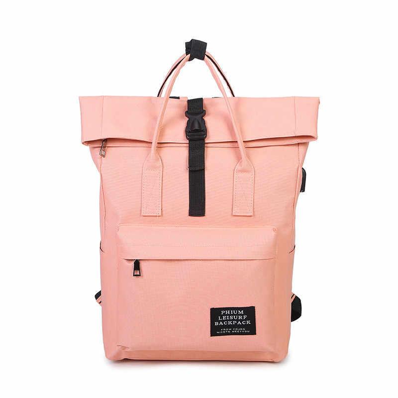 78609bac20 ... New Women External USB Charge Backpack Canvas Backpack Male Mochila  Escolar Girls Laptop Backpack School Bags ...